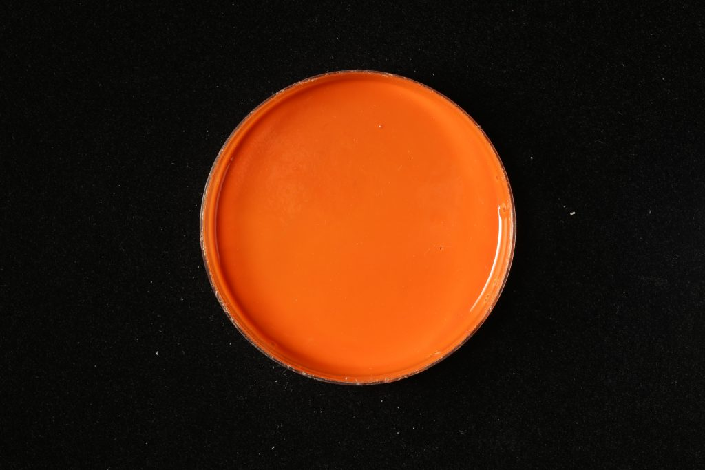 pojidlo: Dispersion 500D (Kremer), pigment: Zinober (Kremer)